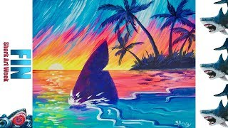 Tropical Paradise Sunset With shark Fin Acrylic painting Beginners Tutorial  #sharkweek