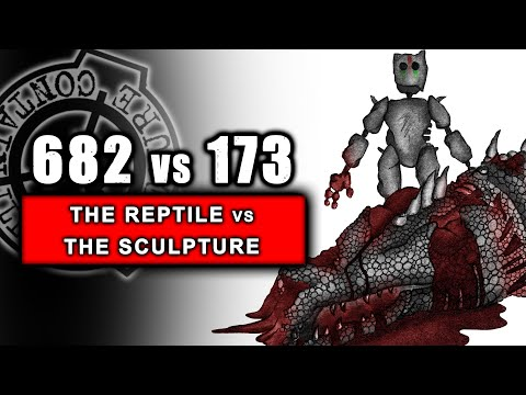 SCP-682 vs SCP-173 illustrated (The Hard to Destroy Reptile vs The Sculpture) REMASTERED 2/4