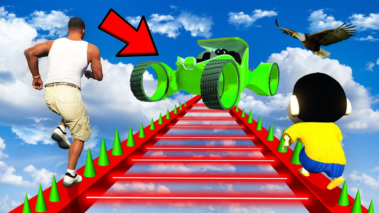 Download SHINCHAN AND FRANKLIN TRIED THE IMPOSSIBLE LADDER LASER CAR CHALLENGE GTA 5