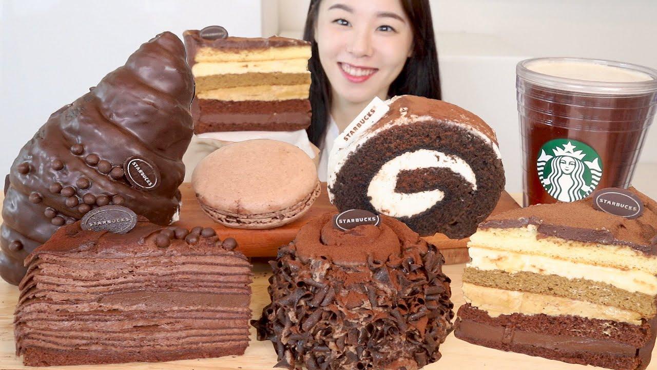 ASMR Starbucks Chocolate Dessert Mukbang 스타벅스 케이크 마카롱 빵 초코디저트 먹방 🍫 티라미수 크루아상 크레이프 Bread Cake Macaron