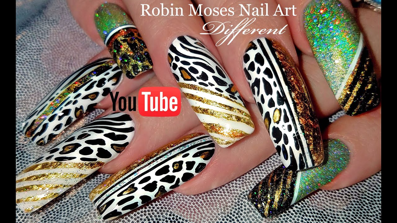 Animal Print Nail Art | Long Leopard Nails with Holo Glitter and ...