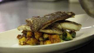 Crispy Sea Bream With Butternut Squash Hash Brussel Sprouts