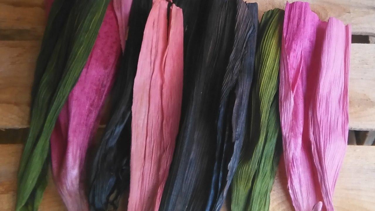 Como teñir hoja de maiz o totomoxtle con colorante de tela - YouTube