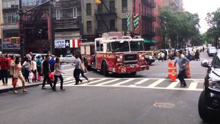 FDNY ENGINE 24 RESPONDING ON WEST 48TH STREET IN THE MIDTOWN AREA OF MANHATTAN IN NEW YORK CITY.