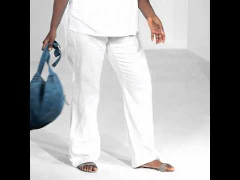 Plus Size Pure Linen Wide-Leg Trousers