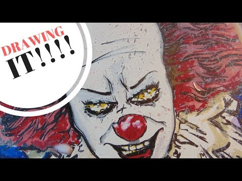 IT PENNYWISE TIM CURRY DRAWING LIVE