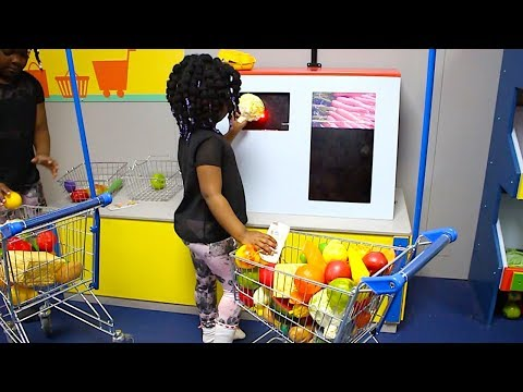 Toys AndFun Sister Doing Shopping At Pretend Supermarket   Fun Indoor Playground For Children