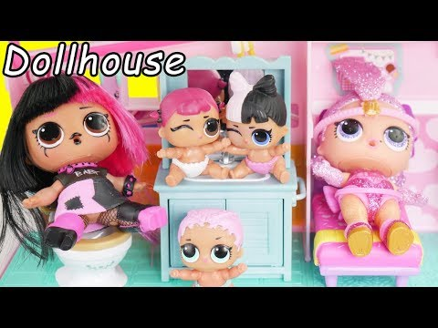 LOL Surprise Dolls Visit Shopkins Doll house with Barbie Babysitter Goldie