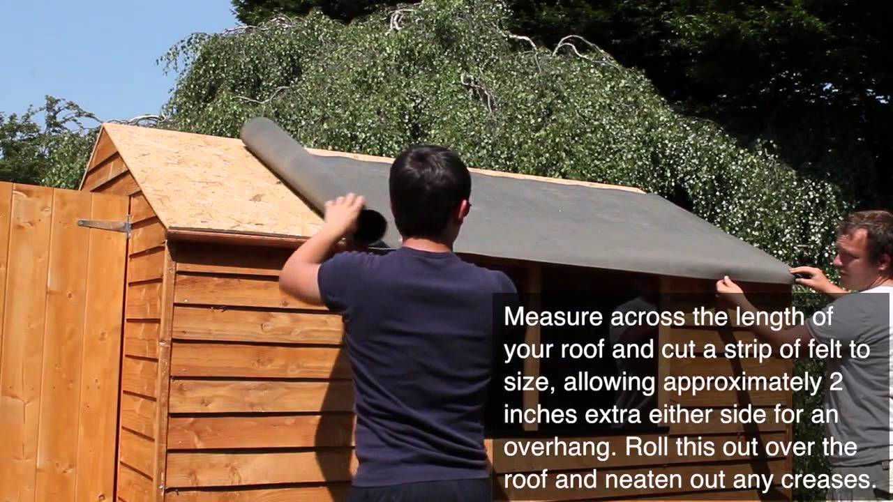Felting a Shed Roof - YouTube
