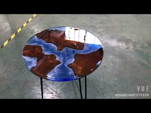 blue epoxy resin coffee table