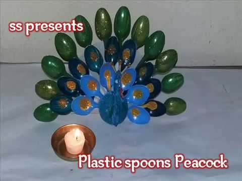 How to make a peacock from plastic spoons crafts diy for Decoration pieces from waste material