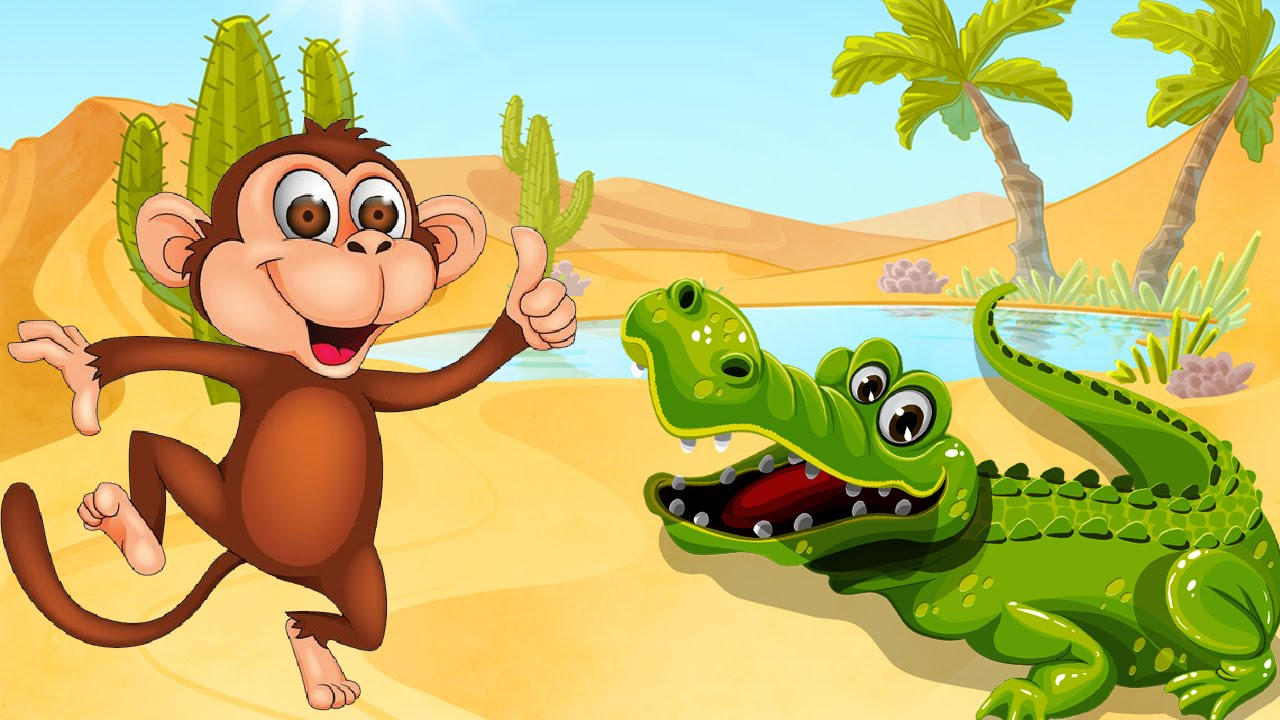 Short Stories In English For Kids With Morals-The Crocodile & The Monkey |  Prince of Monkeys-Cartoon