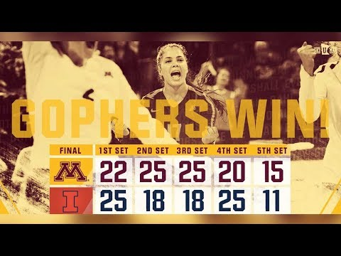 Highlights: Gopher Volleyball Takes Down Illinois 3-2