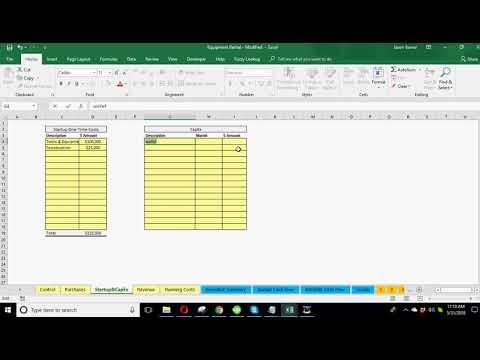 Financial Model Updates - Website/App And Equipment Rental