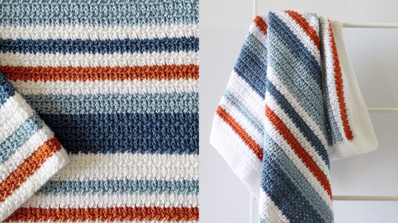 Crochet Country Blue Stripes Baby Blanket Youtube