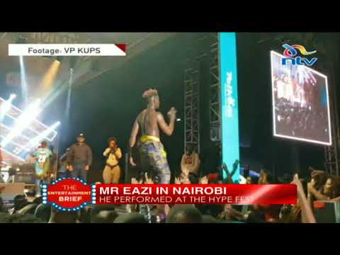 Fans splash water on Mr Eazi as he performs 'Pour Me Water' in Nairobi