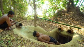 `Building The Most Temple Tunnel Underground Water Slide To Swimming Pools