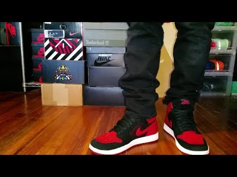 AIR JORDAN 1 HI FLYKNIT BANNED BRED REVIEW + ON FEET - YouTube a815d891f