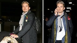 Orlando Bloom Rocking His Blonde Hair Do At LAX