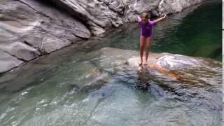 Kinder cliff diving at Ponte Brolla