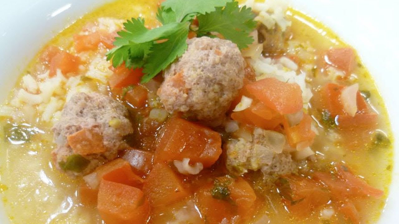 Receta De Sopa De Albóndigas Con Arroz Y Cilantro Recipe Soup With Meatballs Rice And Cilantro