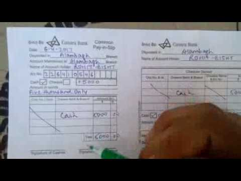 canara bank deposit form  How to fill deposit slip of Canara Bank in Hindi - YouTube