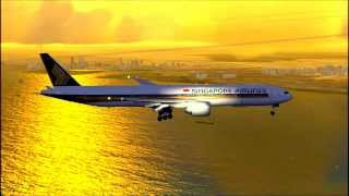 Singapore Airlines Boeing 777-300 ER Singapore Changi Airport Landing [FSX HD]