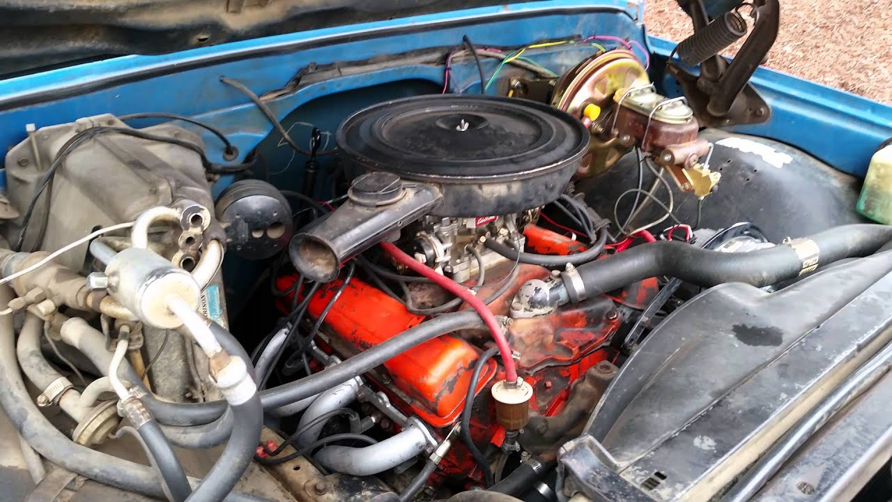 350 small block chevy with Edelbrock 1406 600cfm carb Before the Rebuild