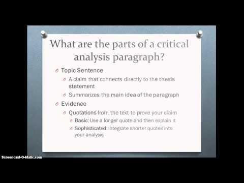 Critical Analysis Body Paragraph Tutorial