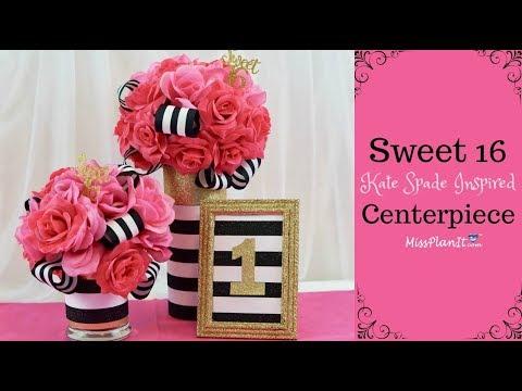 DIY Kate Spade Inspired Sweet 16 Birthday Centerpiece | DIY on a Budget | DIY Tutorial