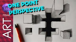 TRICK ART DRAWING 3D HOLE ILLUSION in One Point Perspective
