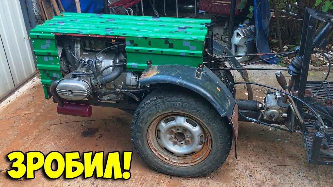 Превратили самодельный мотоблок в минитрактор, поставили двигатель от мотоцикла Урал!