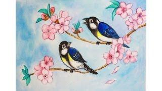 Уроки рисования. Как нарисовать цветущую веточку с птицами акварелью