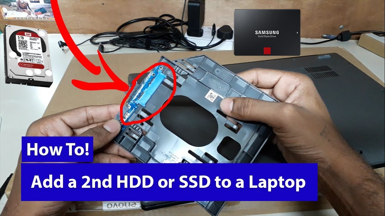 How To Add a 2nd HDD or SSD to a Laptop      Lenovo    Ideapad