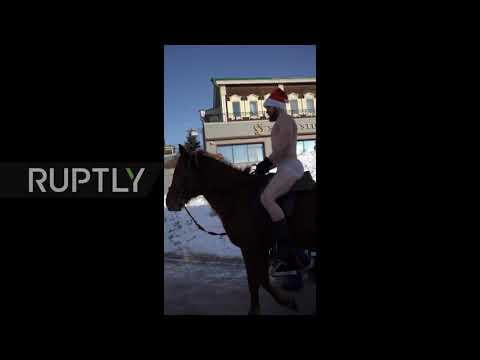 Topless horse riding and 'gravity-defying' food - Russian residents share wacky winter pur