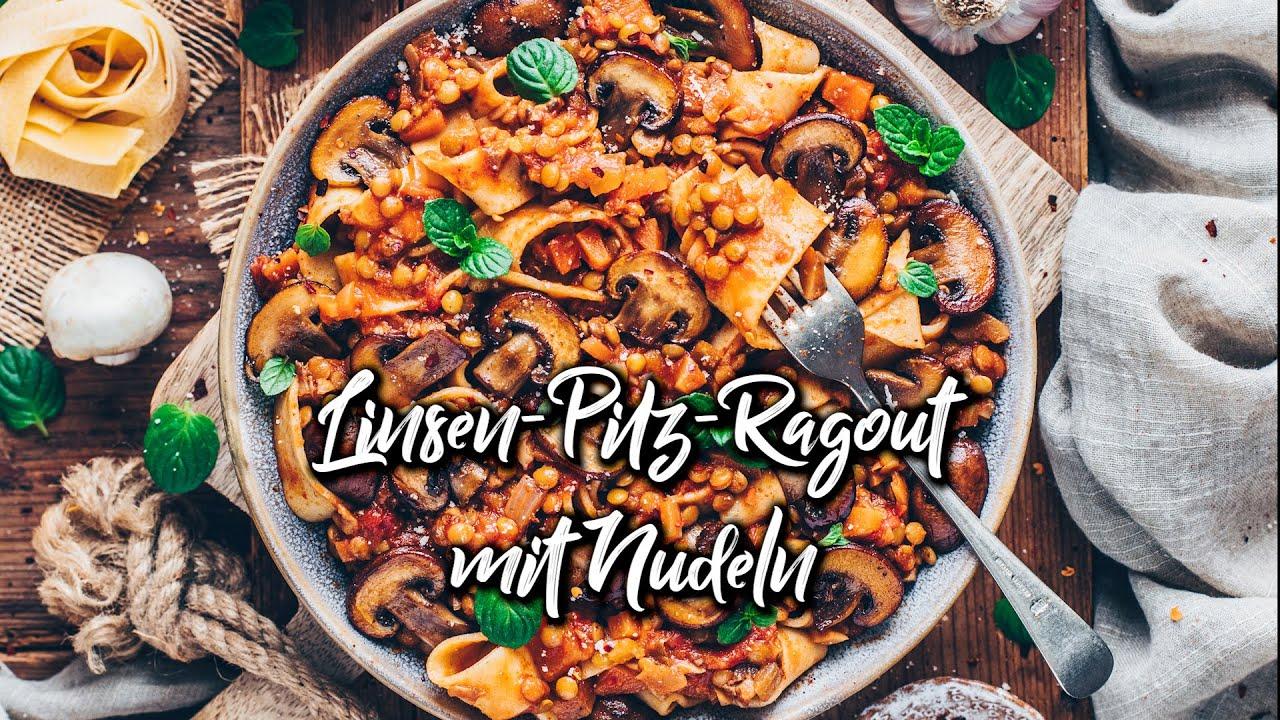 Linsen Pilz Ragout mit Pasta * Rezept