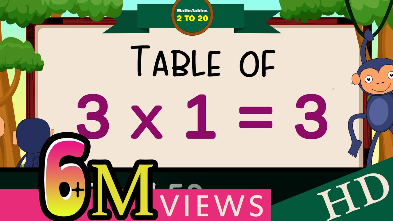 Download 3-x1=3 Multiplication, Table of Three 3 Tables Song Multiplication Time of tables  - MathsTables