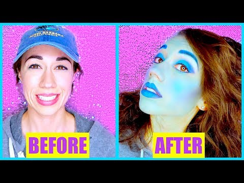 FULL FACE USING ONLY BLUE EYESHADOW!