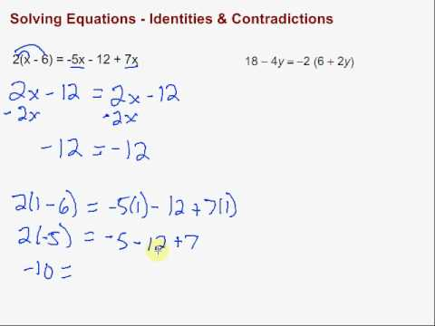 Solving Equations Identities Contradictions Youtube