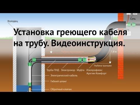 Установка греющего кабеля для подогрева труб