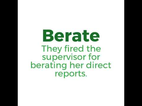 Impact word of the day - berate