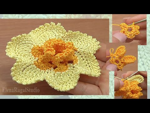 Crochet Narcissus Flower How To Tutorial 65 Part 1 Of 2