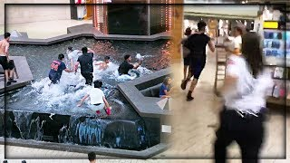 JUMPED IN THE MALL FOUNTAIN *ARRESTED AND BANNED*