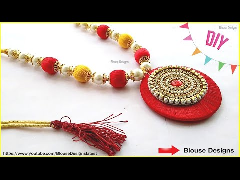 How To Make Silk Thread Necklace, pearl necklace making at home, Diy
