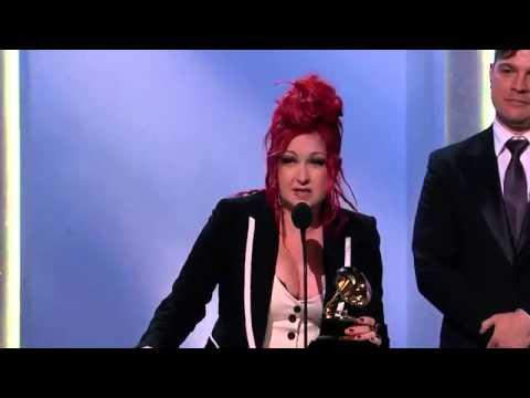 Linhardt jewelry at the Grammys on Cyndi Lauper