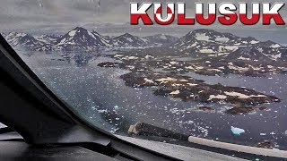 Cockpit View landing on Gravel Runway at Kulusuk, Greenland