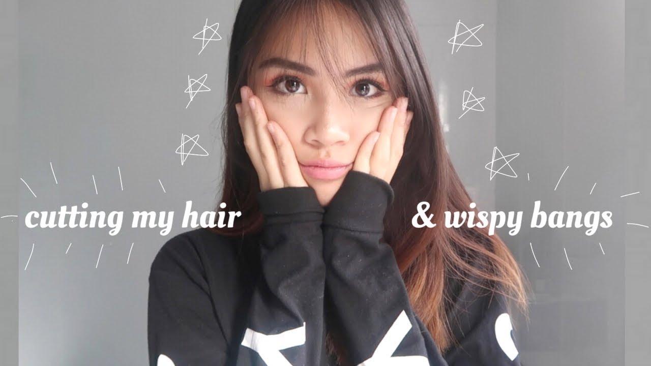 Cutting My Own Hair Wispy Bangs At Home Youtube