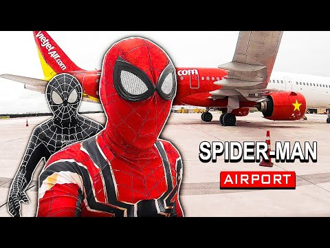 When Spider-Man Go to Airport | Spider-Man fly in the sky Real Life