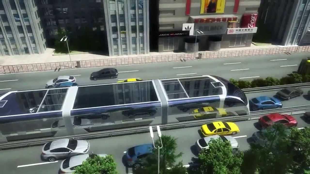 Chineses apresentam projeto de nibus que passa por cima