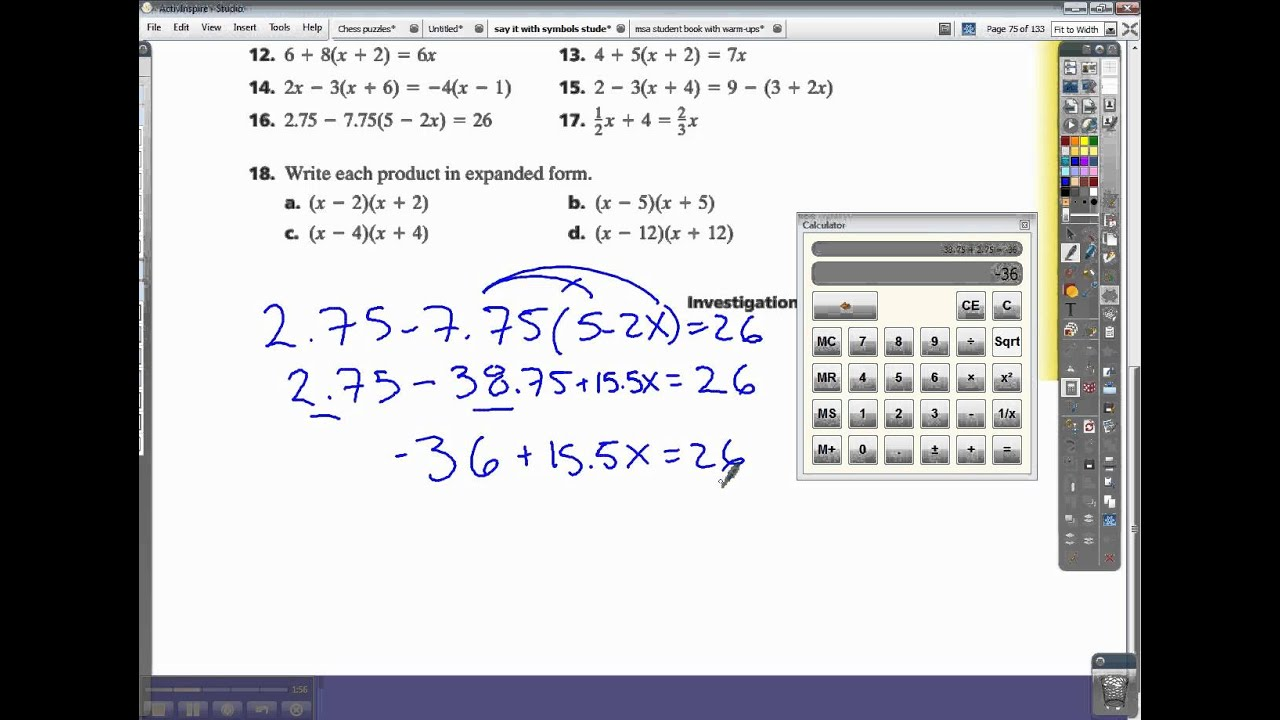 Connected Math Say It With Symbols Inv 3 Ace 16 And 17 Youtube